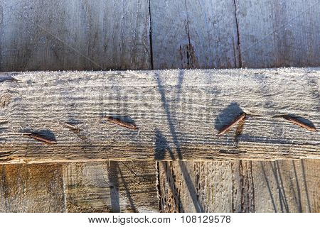 Wooden Surface Covered With Rime