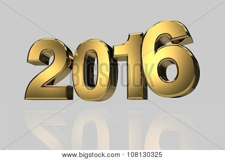 New Year 2016 Gold Three Dimension High Resulation Render
