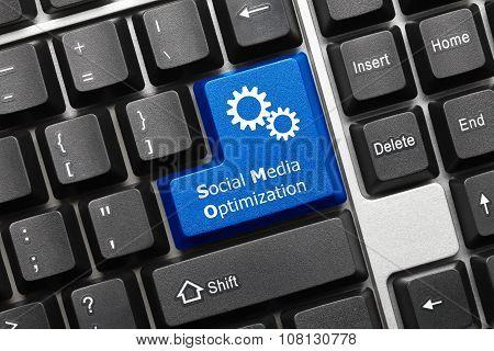 Conceptual Keyboard - Social Media Optimization (blue Key With Gear Symbol)