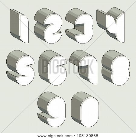 3D Futuristic Numbers Set.