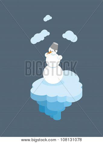 Snowman On  Floating Island. Christmas Character On  Piece Of  Iceberg.