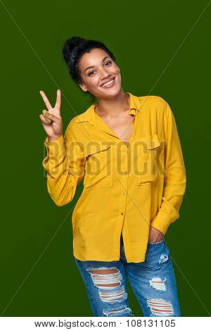 Woman showing two fingers