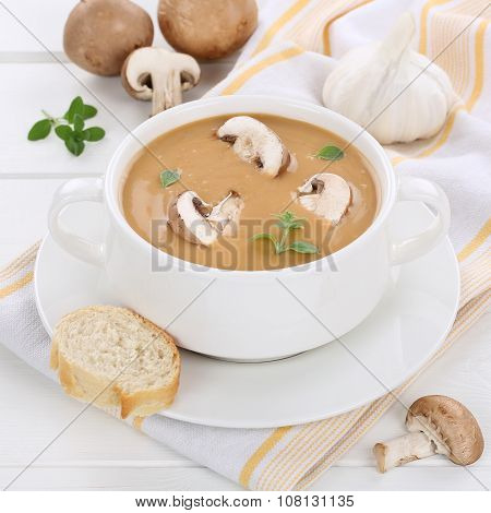 Mushroom Soup With Mushrooms In Bowl Healthy Eating