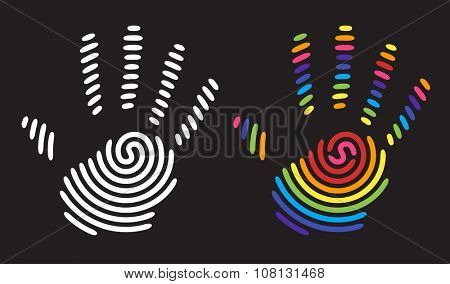 white and rainbow handprint. abstract shape of a hand and fingers