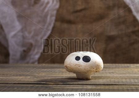 Halloween Mushroom With Ghost Face