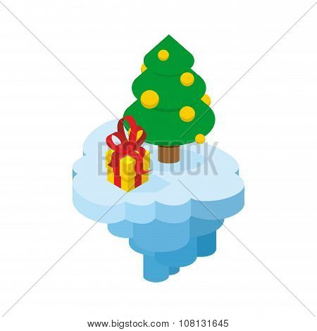 Christmas Flying Island. Piece Of Land With Tree And Present. Holiday Tree With Balloons And Box Wit