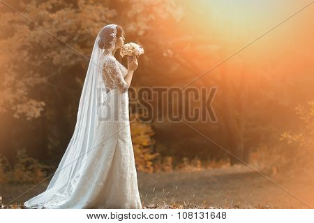 Young Bride In Forest