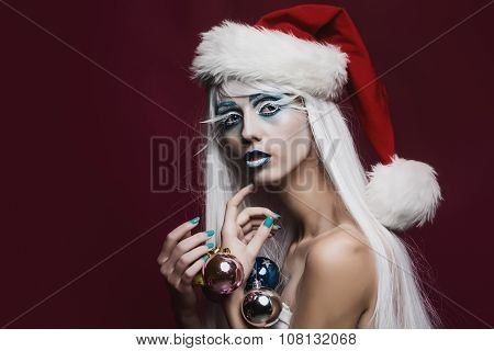Woman With Christmas Balls