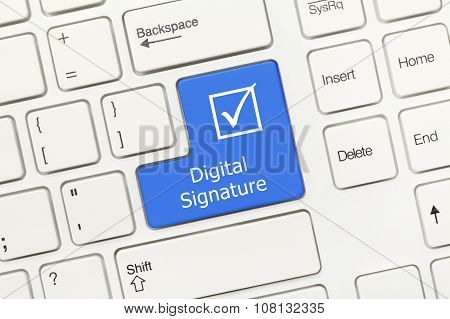 White Conceptual Keyboard - Digital Signature (blue Key)