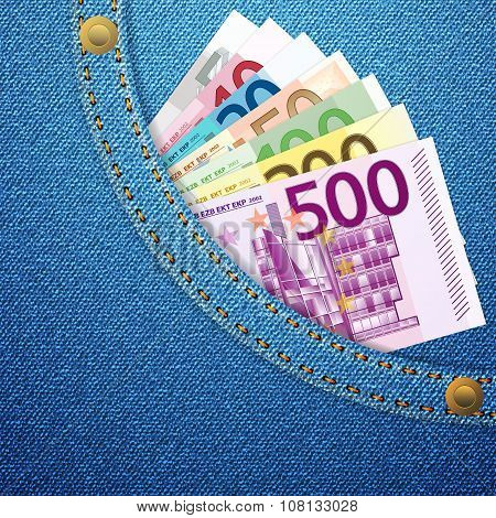 Denim Pocket And Euro Banknotes