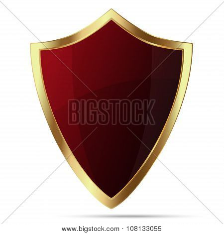Glittering Red Shield With Gold Body Isolated On White Background