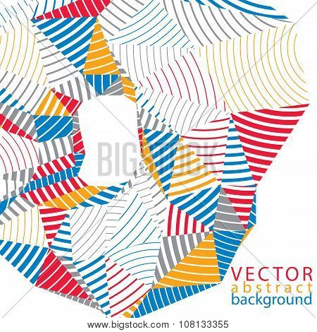 3D Vector Abstract Technology Backdrop, Geometric Unusual Stripy Background. Origami Bright Three-di