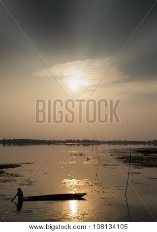 Fishing Boat With Lake View Sunset Asia