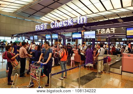 SINGAPORE - NOVEMBER 07, 2015: check-in zone at Changi Airport. Singapore Changi Airport, is the primary civilian airport for Singapore, and one of the largest transportation hubs in Southeast Asia