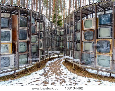 Vilnius, Lithuania - February  02, 2014: Older Tvs. Europa-park. Modern Art On February  02, 2014 In