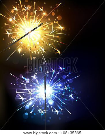 Yellow And Blue Sparkler