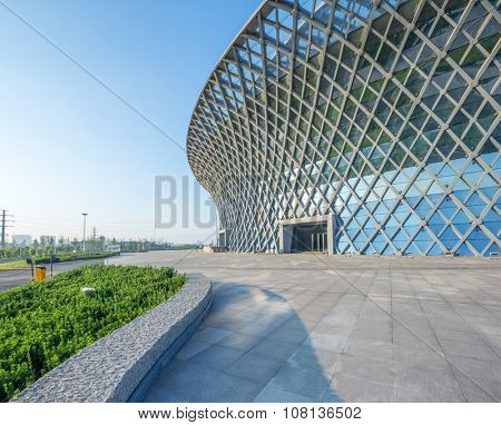 Dong-ying , Shan dong, China - 18, July, 2015: view of building standing in blue sky.  empty ground front building exterior