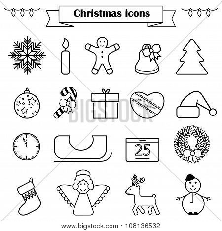 Set Of Line Christmas Icons Isolated