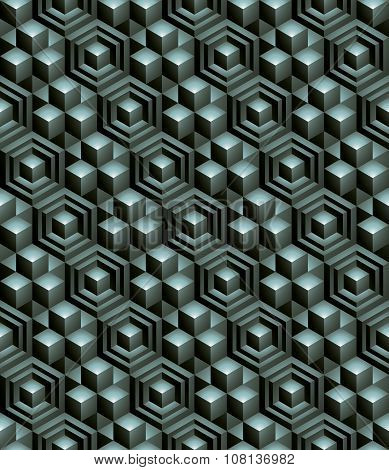 Regular green textured endless pattern with three-dimensional cubes continuous geometric background