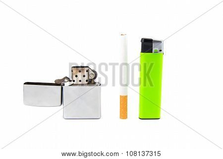 Two lighters and one cigarette