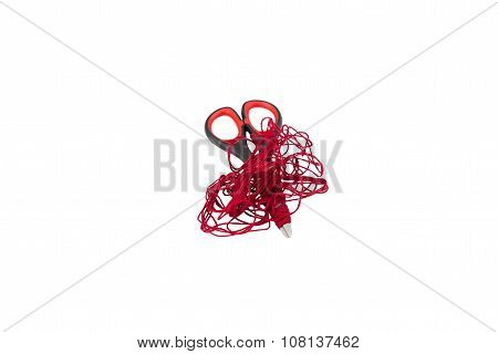 Scissors and red thread  on white