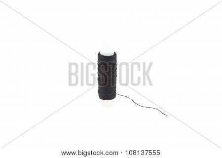 Black thread on white background