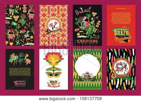 Big Set Of Brazil Carnival Backgrounds.