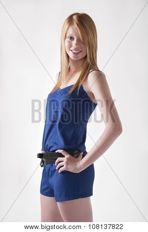 Model In Blue Jumpsuit