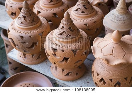 Earthenware brown handmade clay pots