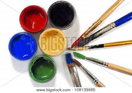 Paint Buckets And Paint Brushes