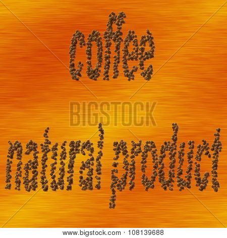 Natural caffee, coffee beans - gold pattern
