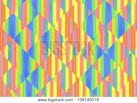 Multicolored Abstract Striped And Square Shape Background.