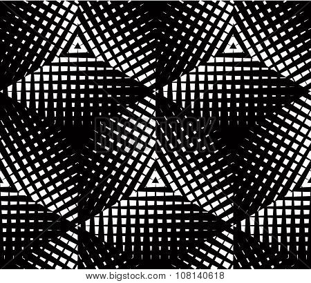 Contrast black and white seamless pattern with overlay shapes. Continuous geometric composition for