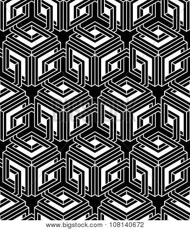 Graphic Seamless Abstract Pattern, geometric Black And White 3D Background. Contrast Ornament