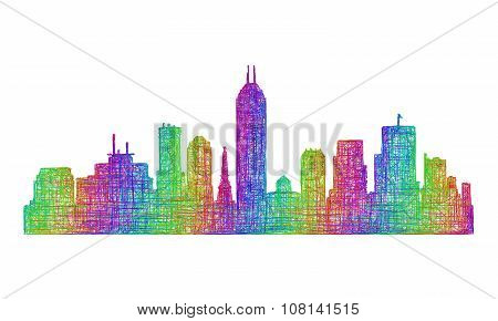 Indianapolis skyline silhouette - multicolor line art