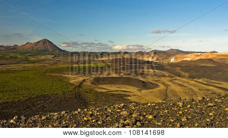 View from Hverfjall volcanic crater toward Jardbodin, Iceland