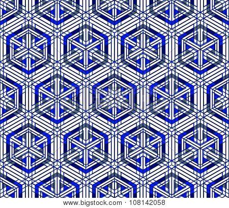 Contemporary Abstract Endless blue Background, Three-dimensional Repeated Pattern. Decorative Graph