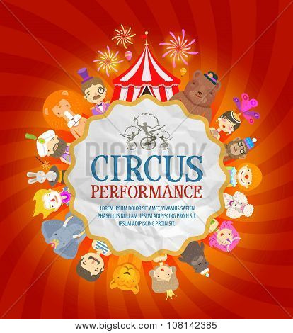 circus poster. circus performers and animals. vector illustration