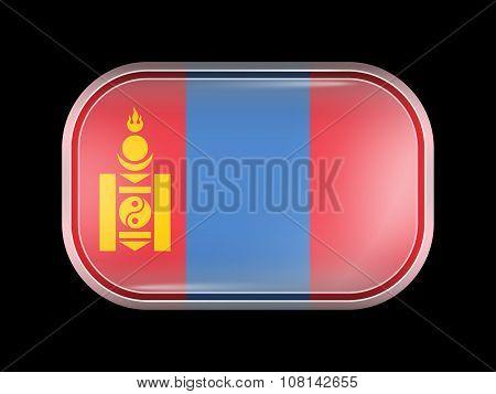 Flag Of Mongolia. Rectangular Shape With Rounded Corners
