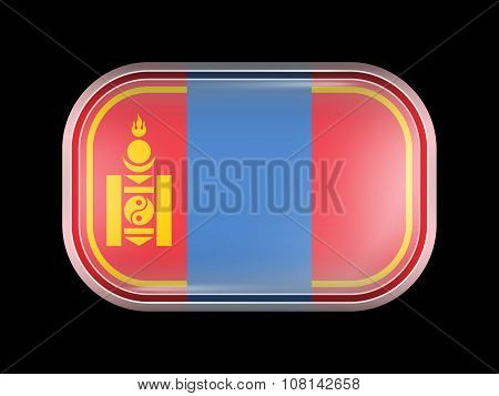Mongolia Variant Flag. Rectangular Shape With Rounded Corners