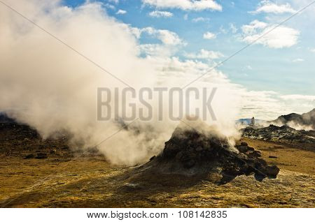 Geothermal activity at Namafjall area east of lake Myvatn