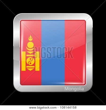 Flag Of Mongolia. Metallic Icon Square Shape
