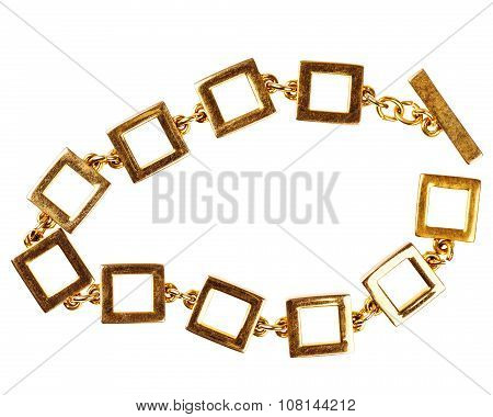 Old Gold Chain Bracelet Made Of Large Square Links