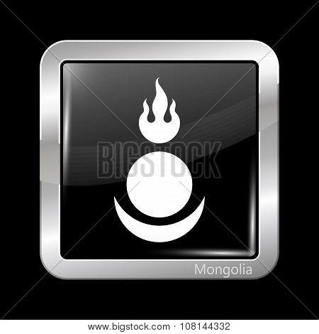Mongolia Variant Flag. Metallic Icon Square Shape