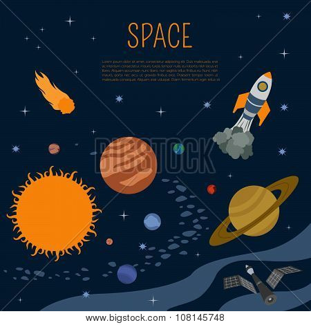 Space, universe graphic design. Banners, layot, flyer templates