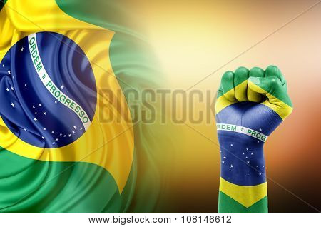 hand painted with the Brazil flag on an abstract background mixed with the flag of Brazil