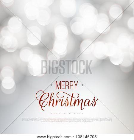 Merry Christmas greeting card. Vector bokeh background, festive defocused lights.