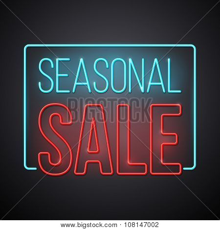 Seasonal sale illustration. Modern neon style vector design.