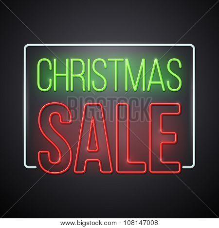 Christmas sale illustration. Modern neon style vector design.