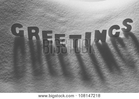 White Word Greetings On Snow
